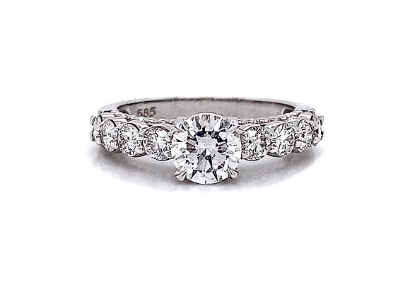 14kt White Gold 1.57ctw Round Diamond Side Stone Ring