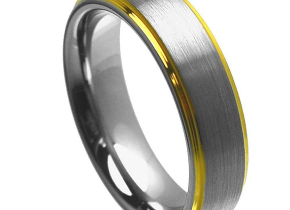 Gray Tungsten Gents Band With Yellow & Brushed Accents
