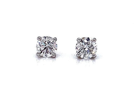 14kt White Gold Ladies 0.76ctw Round Diamond Stud Earrings