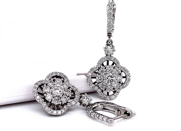 14kt White Gold 2.26ctw Floral Dangle Earrings