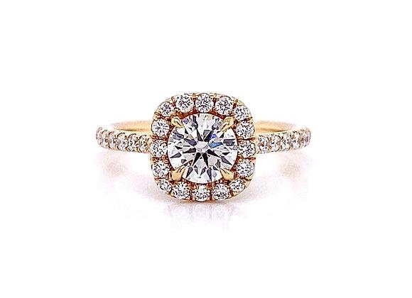 14kt Yellow Gold 1.12ctw Round Diamond Halo Ring