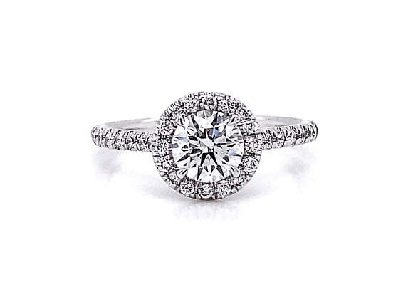 14kt White Gold 0.99ctw Round Diamond Halo Ring