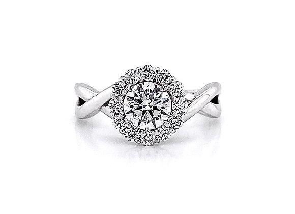 14kt White Gold 1.00ctw Round Diamond Swirl Halo Ring