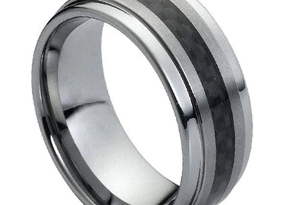 Gray & Black Tungsten Carbon Fiber Gents Band
