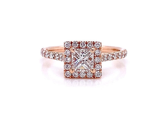 14kt Rose Gold 0.80ctw Princess Cut Diamond Halo Ring