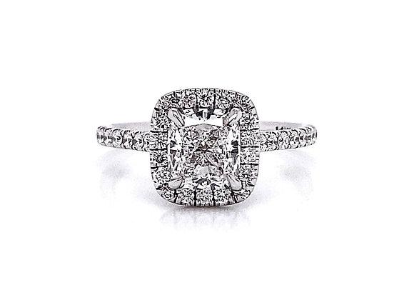 14kt White Gold 1.57ctw Cushion Cut & Round Diamond Halo Ring