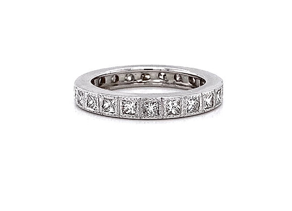 Platinum 0.97ctw Princess Cut Diamond Eternity Band