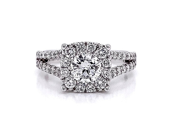 14kt White Gold 1.50ctw Round Diamond Halo Ring