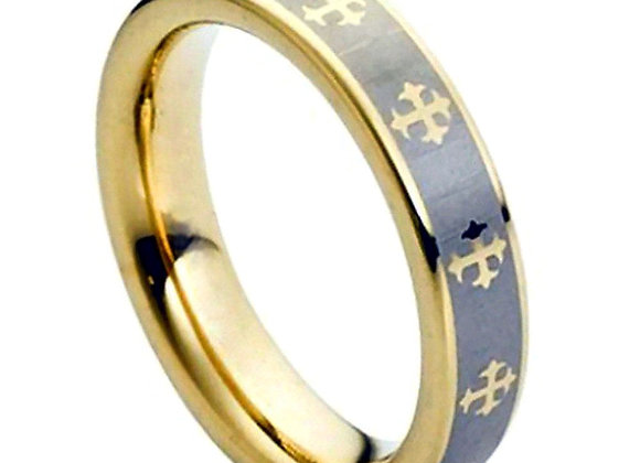 Gray Tungsten Crosses Gents Band With Yellow Gold Accents