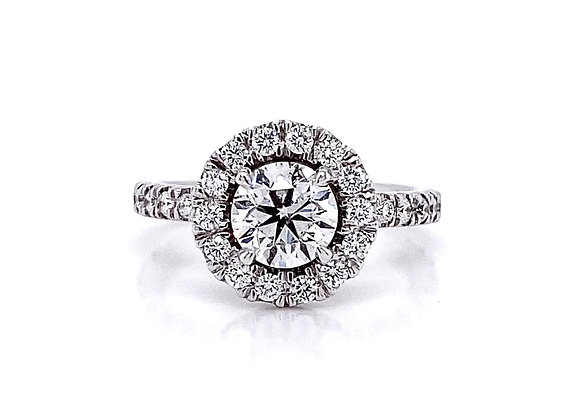 14kt White Gold 1.57ctw Round Diamond Halo Ring