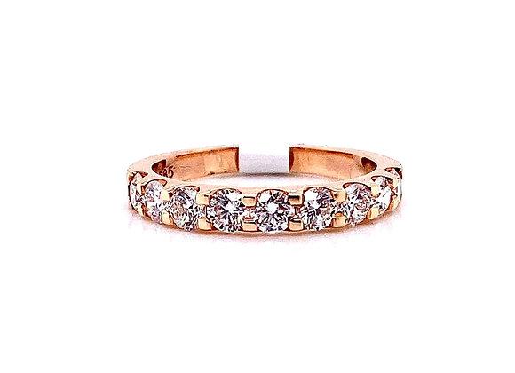 14kt Rose Gold Ladies Round Diamond Straight Band