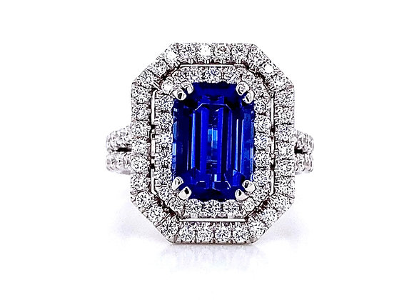 14kt White Gold 3.67ctw Tanzanite Gemstone and Double Halo Diamond Ring