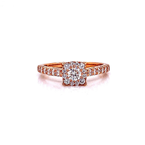 14kt Rose Gold Ladies 0.79ctw Round Diamond Hybrid Halo Ring