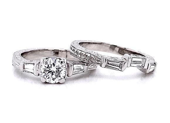Platinum 1.23ctw Round & Baguette Cut Diamond Wedding Set
