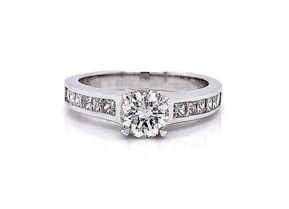 14kt White Gold 1.24ctw Round & Princess Cut Diamond Ring