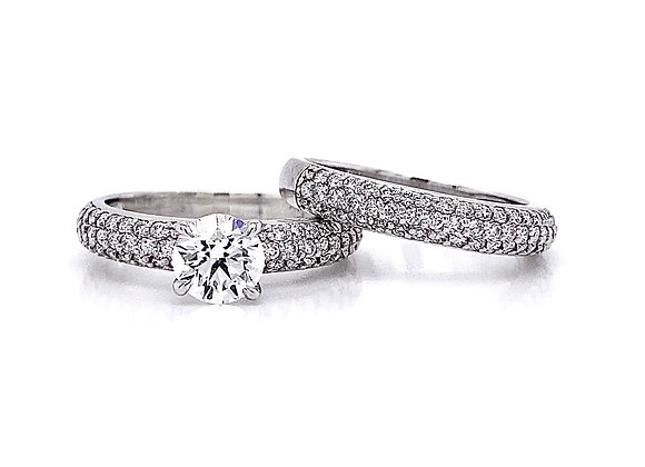 14kt White Gold 1.74ctw Round Diamond Wedding Set