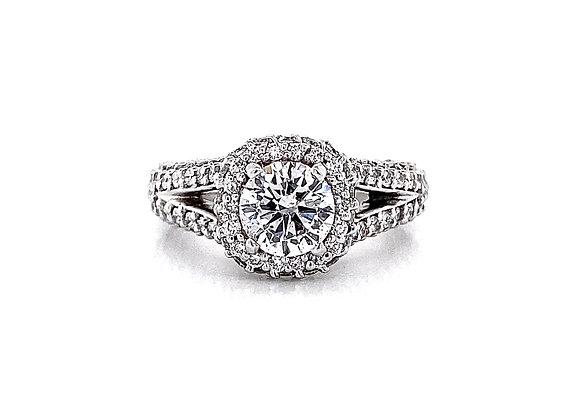 Platinum 2.37ctw Round Diamond Halo Ring