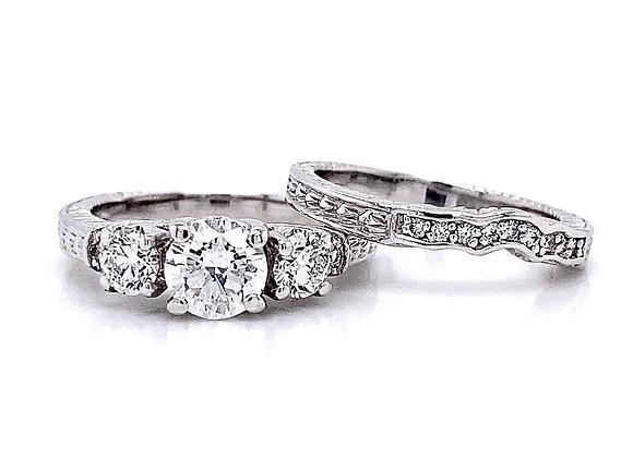 14kt White Gold 1.45ctw Round Diamond Wedding Set