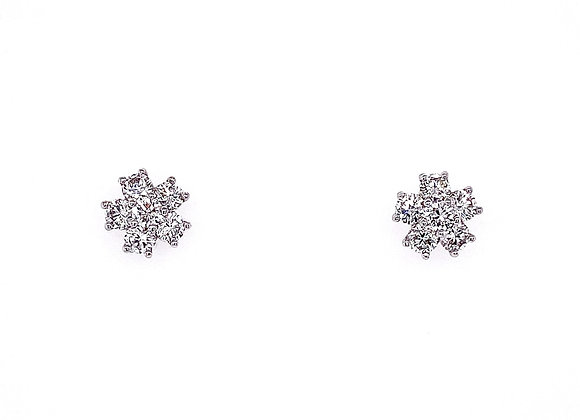 14kt White Gold Ladies Round Diamond Floral Style Earrings