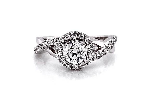 14kt White Gold 0.80ctw Round Diamond Halo Swirl Ring