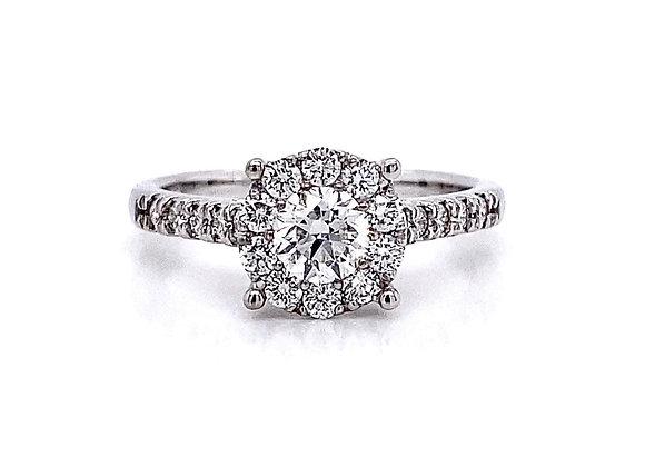 14kt White Gold 0.84ctw Round Diamond Halo Ring