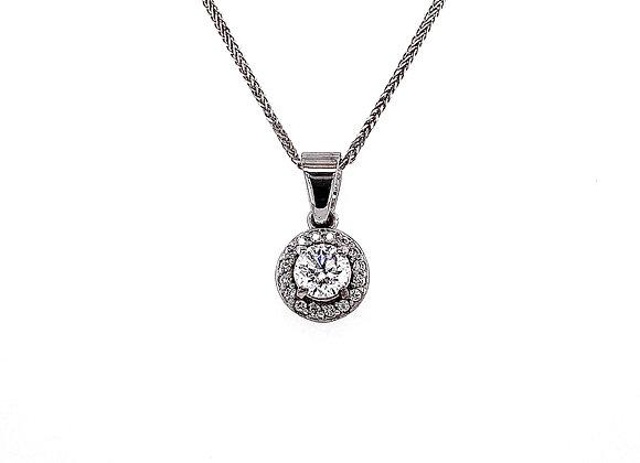 14kt White Gold 0.52ctw Round Diamond Halo Pendant