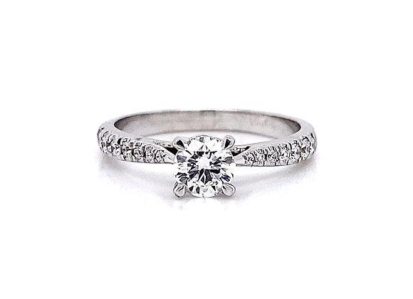 14kt White Gold 0.65ctw Round Diamond Side Stone Ring