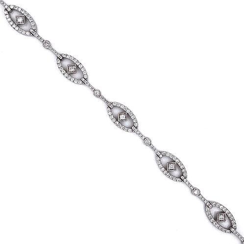 14kt White Gold 1.94ctw Ladies Vintage Style Diamond Bracelet