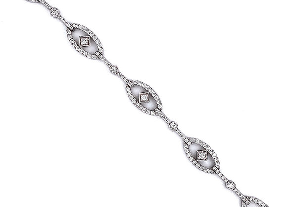 14kt White Gold 1.94ctw Ladies Vintage Style Diamond Bracelet