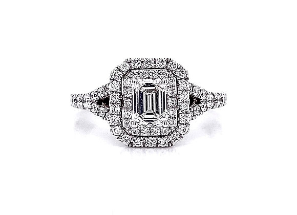 14kt White Gold 1.12ctw Emerald Cut & Round Diamond Double Halo Ring