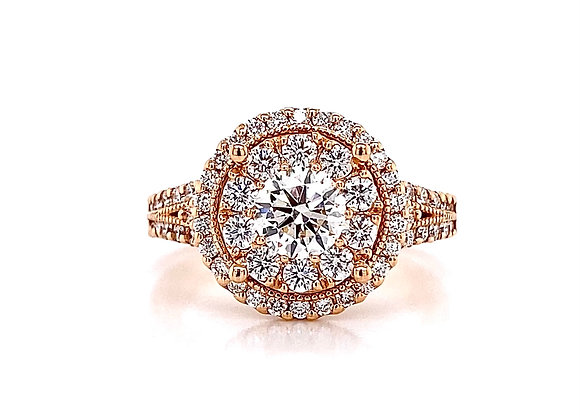 14kt Rose Gold 1.63ctw Round Diamond Double Halo Ring