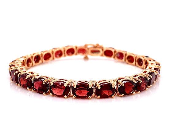 14kt Rose Gold 23.94ctw Oval Garnet Gemstone Bracelet