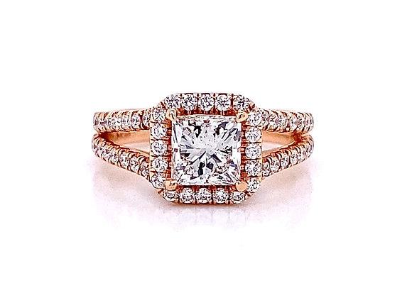 14kt Rose Gold 1.49ctw Princess Cut & Round Diamond Halo Ring