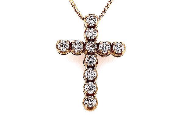 14kt Yellow Gold 1.15ctw Round Diamond Cross Pendant