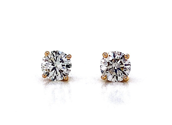 14kt Yellow Gold Ladies 1.01ctw Round Diamond Stud Earrings