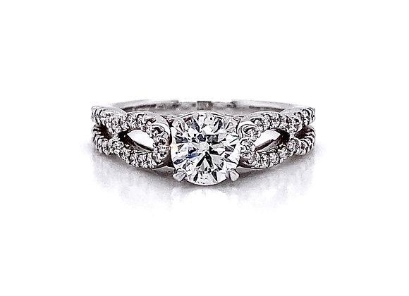 14kt White Gold 1.03ctw Round Diamond Swirl Ring