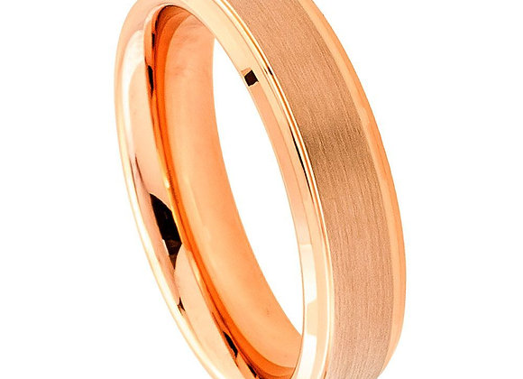 Rose Tungsten Gents Band With Brushed Accents