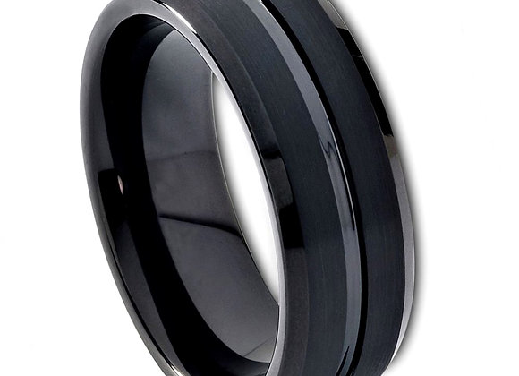 Black Tungsten Gents Band With Brushed Accents