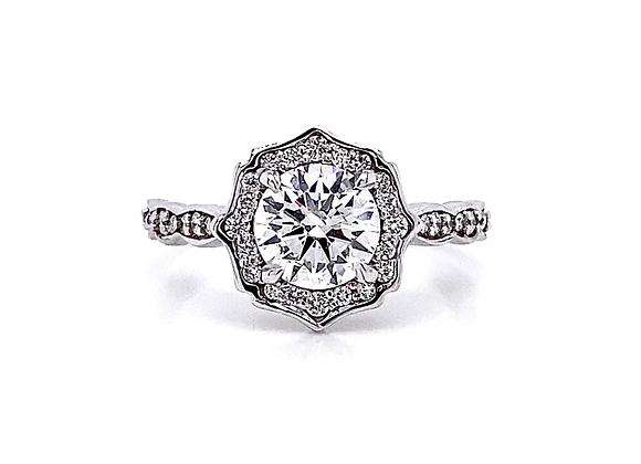 14kt White Gold 1.27ctw Round Diamond Halo Ring