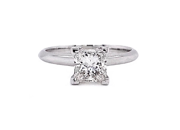 14kt White Gold 1.02ct Princess Cut Solitaire Ring