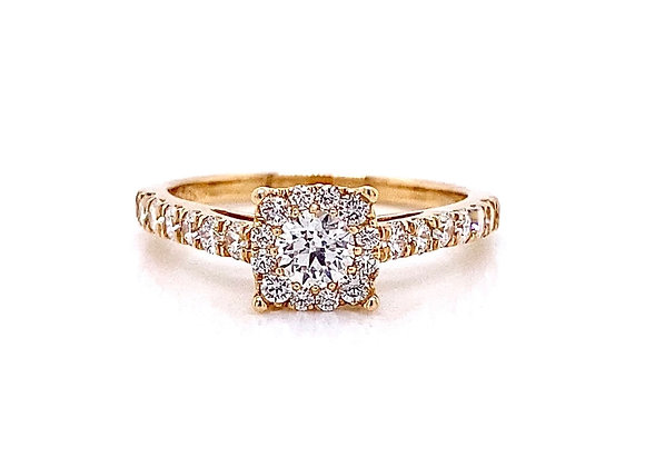 14kt Yellow Gold 0.83ctw Round Diamond Halo Ring