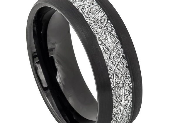 Black & Gray Tungsten Meteorite Gents Band