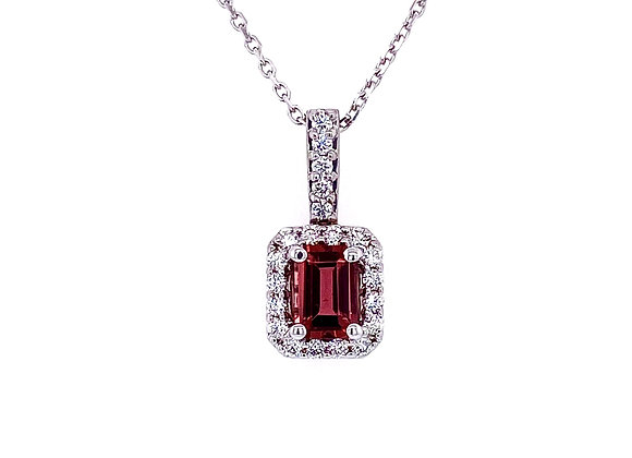 14kt White Gold Ladies Pink Tourmaline and Diamond Halo Pendant