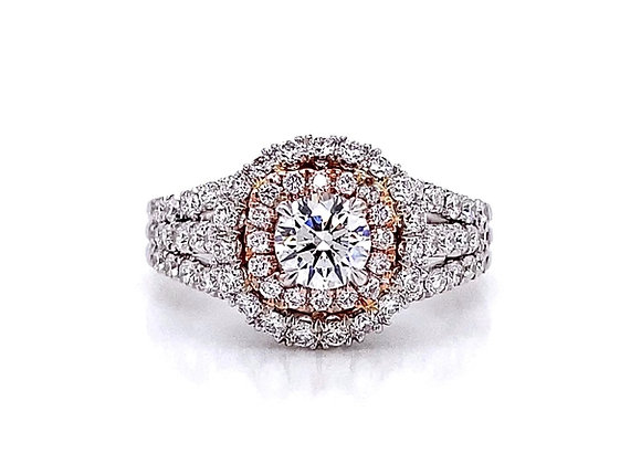 14kt Two-Tone 1.38ctw Round Diamond Double Halo Ring
