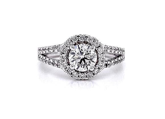 14kt White Gold 1.22ctw Round Diamond Halo Ring