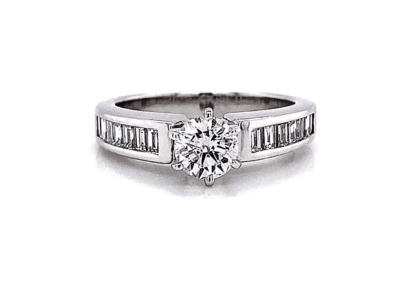 Platinum 1.12ctw Round Diamond and Baguette Cut Side Stone Ring