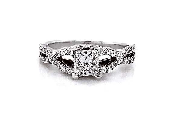 14kt White Gold 0.84ctw Princess Cut Side Stone Ring