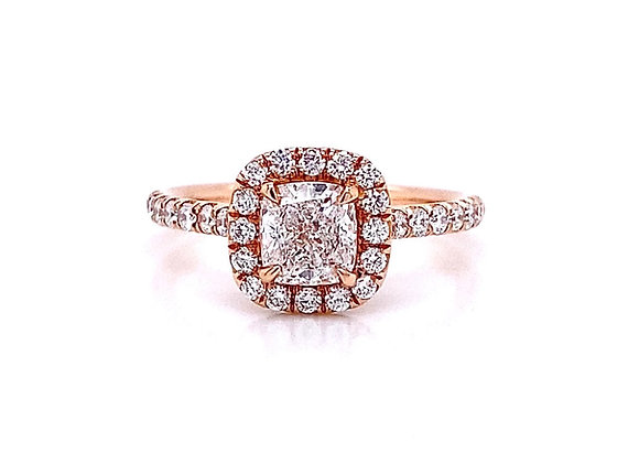 14kt Rose Gold 1.10ctw Cushion Cut & Round Diamond Halo Ring