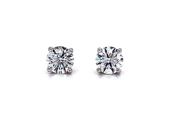 14kt White Gold Ladies 0.80ctw Round Diamond Stud Earrings