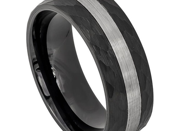 Black & Gray Tungsten Chiseled Gents Band With Brushed Accents